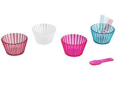 """Present Time Set of 4 4""""D Dessert Dishes with Matching Spoons Cupcake Design $12.95"""