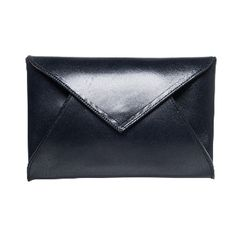 Beaumont Organic Navy Pamplona Envelope Clutch: This stunning, high quality navy Pamplona envelope clutch bag, by premium British fashion label Beaumont Organic, is super stylish whether worn on the shoulder with the detachable metallic chain or as a clutch. With clean lines and produced from a hard wearing structured leather, it features a popper fastening and one compartment.