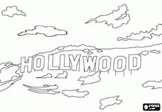 The famous Hollywood sign with the giant letters on the hill in Los Angeles, California coloring page