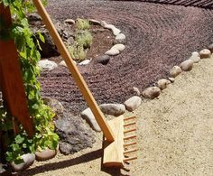 So exciting...this is an adult-size Japanese Zen Garden rake designed and crafted by my hubby...a production company just bought one to be used as a prop in an Old Navy commercial!!  Rumor has it that Mr. T stars in the commercial as some sort of Zen master...  Now if only we had TV so we could see it LOL