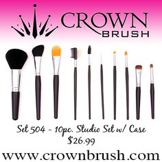 This set is composed of 10 most commonly used brushes from our extensive Studio Series. The larger powder and blush brushes are made of our Sable and Goat blend, the shadow brushes are made with our Sable Blend bristles and the foundation and liner brushes are made with our exclusive Torray Taklon.     Set includes:  Jumbo Powder Dome • Mini Liner • Angle Blush • Angle Liner • Foundation • Oval Taklon  Brow/Lash Groomer • Oval Shadow • Pro Spoolie • Round Contour • Leatherine Case