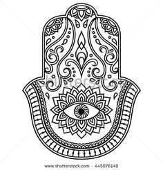 "Similar Images, Stock Photos & Vectors of Hamsa hand drawn symbol with lotus. Decorative pattern in oriental style for interior decoration and henna drawings. The ancient sign of ""Hand of Fatima"". Hand Der Fatima, Phulkari Embroidery, Hamsa Design, Henna Drawings, Maori Tattoo Designs, Pattern Coloring Pages, Oriental Fashion, Oriental Style, Marquesan Tattoos"