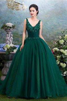 529226c607a00 グリーン Vネック ボールガウン チュール フロアー丈 レースアップ カラードレス 結婚式 花嫁ドレス 手作りの花付き Cfz0005