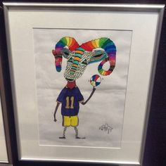 Sweet Techno Goat inspired art piece by Mulga fan Toddy on display in the kids art exhibition at the Easter show. Go Toddy!  See Toddy's artwork and my stall in the same Pavillion  Fashion and Style Pavillion near the wood chop stadium.
