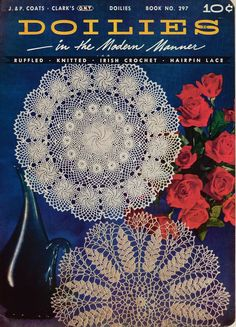 Coats Clark 297 Doilies Modern Manner Crochet Knitting Hairpin Patterns 1953 #CoatsandClark #CrochetPatterns