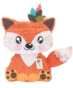 Fox Pinata with Tribal Feathers, Orange & White, x Fox Party, Animal Party, Bar A Bonbon, Tribal Feather, Baby 1st Birthday, Birthday Ideas, Woodland Party, Woodland Animals, Fiestas