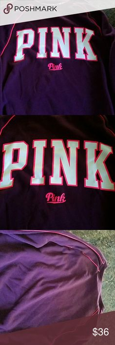 Pink varsity crew ss Marron, pink , and white  Hardly worn  Great condition PINK Victoria's Secret Tops Sweatshirts & Hoodies