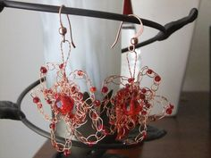 Red and Copper Wire Crochet Flower Earrings by Krasata on Etsy, $20.00