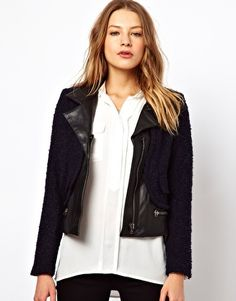 By Zoe Boucles Biker Jacket with Leather Panels