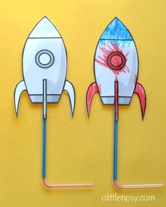 "Rocket printables that really ""launch"" when you blow on the straw!"