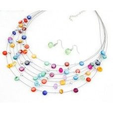 Colourful Multilayer Necklace & Earring Set £5