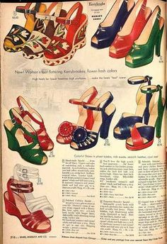 Sears Catalogue 1948......I want them all! wedge heels pumps shoes late 40s print ad illustration vintage fashion style red blue green sandals embroidered floral