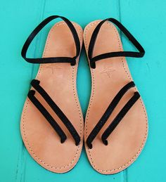 Greek Leather Sandals Handmade Black Glitter by Ammos on Etsy, $57.00