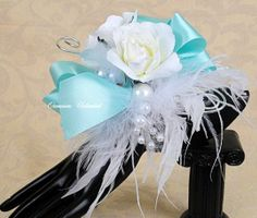 Prom Corsage - corsage, blue- bling corsage- dance corsage- wrist cor…