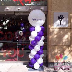 Purple and White Custom Logo Balloon Column #PartyWithBalloons