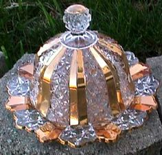 EAPG Clover 58 Crystal Gold Gild Covered Butter Dish George Duncan 1890 | eBay