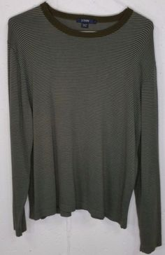 J Crew Mens Striped 100% Cotton Long Sleeve Sweater Sweatshirt Large L #JCrew #CrewNeck