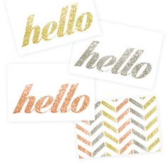 Free Glitter Printables Chevron Hello