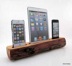 Great idea for a charging station....but I'll have Phil make it with reclaimed wood!!! iPad Mini and Dual iPhone 5 RedWood Docking Station. $250.00, via Etsy.