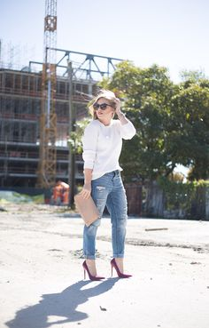 Deconstructed Denim + Pumps