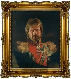 This is a self-portrait Chuck Norris created of himself, while blinded folded and without using his hands... or any actual paint.