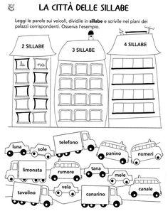 Divisione sillabe Primary School, Pre School, School Bags, Middle School, Back To School, Italian Lessons, Idiomatic Expressions, Montessori Math, Italian Language