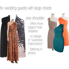 """wedding guests with large chests: one shoulder"" by cardiganjunkie on Polyvore"