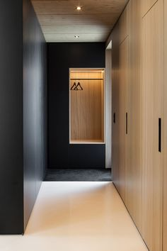 Agatha O I Custom built-in furniture takes design cues from the home's timber frame. The staircase and all built-in storage objects are made of wood. Two black wood units separate the stairwell from the living room and kitchen. Built In Furniture, Hallway Furniture, Minimal Home, Wardrobe Closet, Bedroom Wardrobe, Hallway Closet, Wardrobe Doors, Narrow Closet, Black Wardrobe