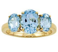 Three-Stone Oval Gemstone Ring, 14K Yellow Gold