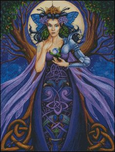 Enchantress by Jane Starr Weils Magical Creatures, Fantasy Creatures, Fantasy Paintings, Fantasy Art, Lady Fantasy, Celtic Cross Stitch, Wolf, Pagan Art, Fable