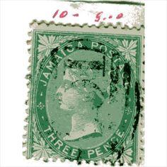 QV Jamaica 3d Green (SG10) used with faint A01 Kingston cancel