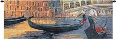 Woven in North America History: Gondola Ride tapestry features the work of artist Roy Avis. This charming tapestry showcases the gondolas of Venice, Italy. Comp