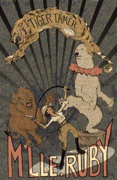361e6c29529e Mademoiselle Ruby - Tiger Tamer vintage inspired illustration by Paul  Zdepski