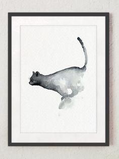 Saut de chat aquarelle peinture Illustration bleue et grise. Affiche bleu marine chats chambre d'enfant, décoration murale. Idée de cadeau abstraite minimaliste Art Print. Décoration de chambre enfant animaux. Type de papier : Imprime jusquà (42 x 29, 7cm) 11 x 16 pouces taille sont