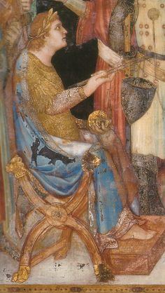 sitting sideways on the X chair. Renouniation of the Weapons. Lower half of the Church of St Martin by Simone Martini. c. 1320-25. Assisi Italy