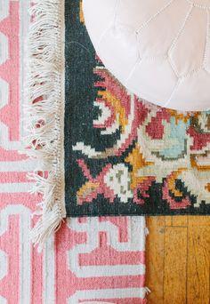 @Alaina Kaczmarski Chicago Apartment Tour // office // blush pink pouf // @Lulu & Georgia rug // @Rugs USA rug // photography by Stoffer Photography