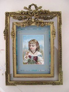 Layered framed by fete et fleur Antique Picture Frames, Antique Frames, Vintage Frames, French Decor, French Country Decorating, Royal Tea Parties, Miniature Portraits, Shabby, Painting Frames