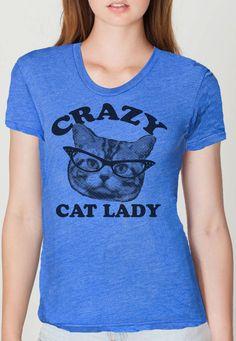 CRAZY CAT lady t shirt -- american apparel  S M L XL  and larger ( 2 colors ) w2p. $24.00, via Etsy.