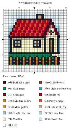 disegno punto croce casa