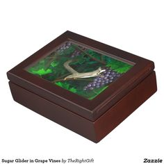 Sugar Glider in Grape Vines Keepsake Box   #sugarglider #gifts #jewelrybox