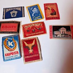 Mixed lot of Finland Matchbox Labels Kaupoista Juhlanayttely Three Pipes