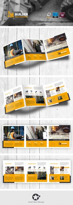 Construction Tri-Fold Square Brochure Templates #design #trifold Download: http://graphicriver.net/item/construction-trifold-square-brochure-templates/11442304?ref=ksioks
