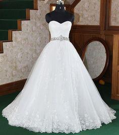 Custom Strapless  Lace Tulle Wedding dress S362. $422.00, via Etsy.