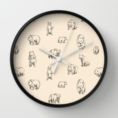Bears by Leah Reena Goren  WALL CLOCK / BLACK WHITE $30.00