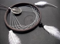 Great idea for a simple dream catcher that can be started/made during a ritual. Moon Howling Wolf Dream Catcher (Hand Made) by TheInnerCat Los Dreamcatchers, Moon Dreamcatcher, Crafts To Make, Arts And Crafts, Diy Crafts, Medicine Wheel, Wolf Howling, Sun Catcher, String Art