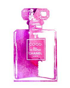 Watercolor Perfume Coco Chanel Bottle by NirvanicDreamsShop