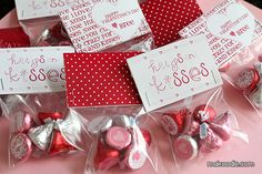 Valentine's Hershey Kisses Labels and bag topper printable