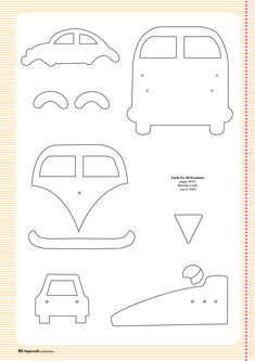 Free card making templates from Papercraft Inspirations 123 carros kombi e fusca Card Making Templates, Applique Templates, Applique Patterns, Applique Designs, Owl Templates, Felt Patterns, Sewing Patterns, Patchwork Quilting, Felt Ornaments