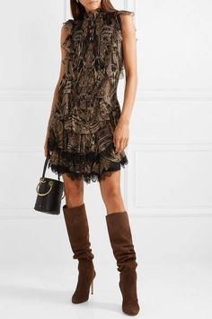 e6d33862d528 Etro Lace-trimmed Printed Silk-crepe Mini Dress - Brown #trimmed#Printed