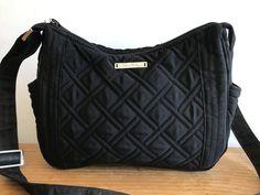Vera Bradley Black Diamond Weave Quilted Handbag Purse Medium Size Crossbody 1fe83cd8c03fb